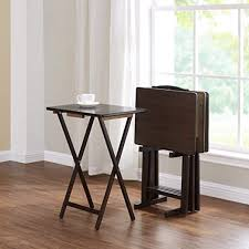 Brown 5-Piece Folding TV Tray Table Set (4 Trays, 1 ... - Amazon.com