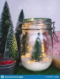Artificial Christmas Tree Candle Lights Christmas Tree In A Jar With Christmas Lights Stock Image