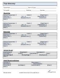 Printable Trip Itinerary