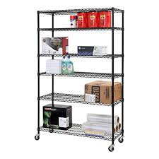 sandusky lee mws481874 b 6 tier wire shelving unit with 3 rubber casters 6 wire shelves black 74 height x 48 width x 18 depth