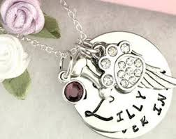 pet memorial jewelry dog memorial necklace pet memorial gift hand sted necklace