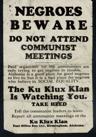 guy benton johnson papers african american families poster negroes beware do not attend communist meetings birmingham alabama