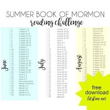 Summer Book Reading Chart Summer Book Of Mormon Reading Challenge Lds Lane