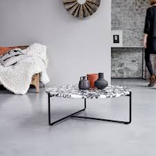metal and stone coffee table 80 cm