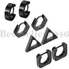<b>4pairs</b> Men Women Stainless Steel Hoop Huggie Square Triangle ...