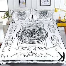 white and black owl bird design bedding set hypoallergenic duvet cover microfiber twin queen king size