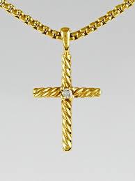 david yurman 18k gold and diamond cable classics cross pendant necklace