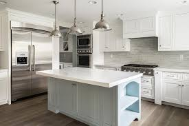 White Kitchen With Grey Island Transitional Bathroom