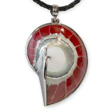 red nautilus shell pendant 925 silver picture 1