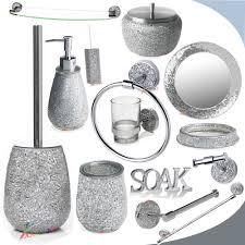 4 Piece Bathroom Accessory Set Mirror Bathroom Accessories Crackle Glass Bath Accessory Ebay