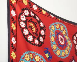 uzbek suzani morocco wall tapestry red wall hanging fl wall decor home decor 60 x