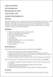 Etl Tester Resume