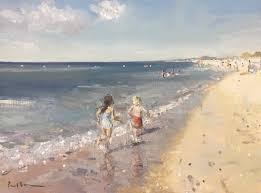 paul brown paintings on twitter portugal beach children running sand sea hot oil painting summer holiday art pleinairpainting allaprima
