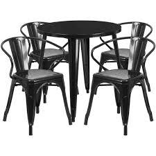 black metal outdoor furniture. 30\u0027\u0027 Round Black Metal Indoor-Outdoor Table Set With 4 Arm Chairs CH Outdoor Furniture K