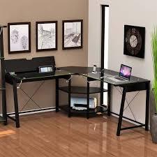 z line designs vance corner desk with storage black with clear glass zl3210 01ldu