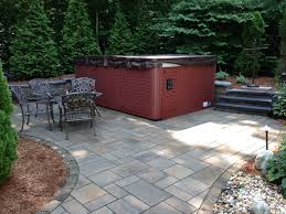 Backyard Designs Using Pavers Hot Tub On Paver Patio With Steps And Landscaping By Bahler