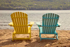 adirondack chairs on beach. Two Adirondack Chairs On The Sandy Beach By Lake Royalty Free Stock Photography W