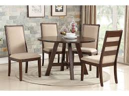 medium brown natural wood round dining table