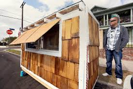tiny house neighborhood. Los Angeles Resident Elvis Summers Poses With His Tiny House On Wheels He Built For A Neighborhood
