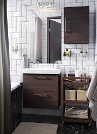 Image Decor Small White Bathroom With Dark Brown Open And Closed Storage Ikea Bathroom Furniture Bathroom Ideas Ikea