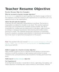 Nice Objective For Resume Teacher Resume Objective Objectives For