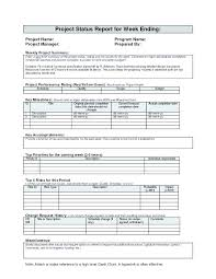 Project Status Report Template Excel Download Filetype Xls Sample
