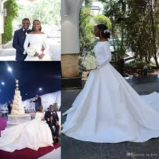 Wedding Court Design Discount 2019 Winter Modest Design Ling Sleeve Wedding Dress Off Shoulder A Line Court Train Satin Muslim Bridal Gowns Custom Size Wedding Dress Buy