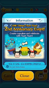 update in the disney tsum tsum game 2nd anniversary card