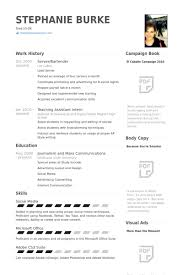 Bartending Resume Templates Adorable Resume Templates For Bartenders Funfpandroidco