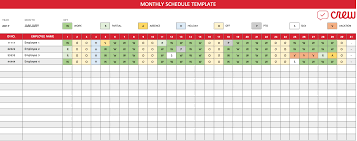 Schedule Monthly Template Free Monthly Work Schedule Template Crew