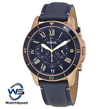 fossil fs5237 grant sport blue dial men s chronograph watch