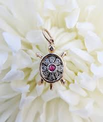vintage inspired 9ct rose gold turtle pendant necklace with diamond sapphire or ruby