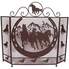 deleon collections horse horse shoe design metal fireplace screen