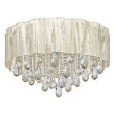 elegant led ceiling chandelier with crystal drops and beige fabric shade