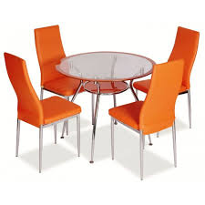 dining room matching dining room furniture color with round modern glass dining table and high back orange contemporary leather dining chairs as well as