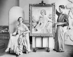 女性のポーズのアーティストの絵画の肖像 ストック写真 Everett225