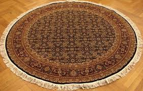 details about all over wool silk traditional genuine hand knotted rug 6x6 round black rug