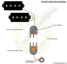 six string supplies precision bass wiring wiring diagram for the precision bass this diagram is based on our precision bass wiring kit and makes use of cts solid shaft pots vintage style push