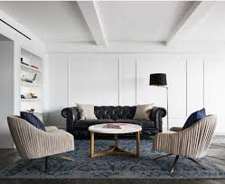 two roar rabbit swivel chairs sed perfectly in this modernist living room seen on houzz