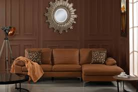 modern real leather sectional sofa l shape couch w left chaise brown for