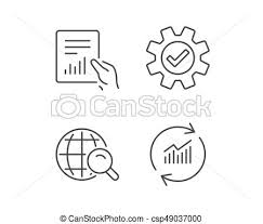Statistics Symbols Chart Analysis Line Icons Chart Report And Search