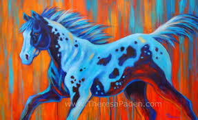 large contemporary horse painting by theresa paden