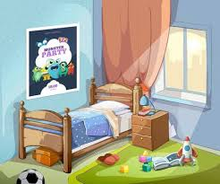 boys bedroom clipart. Wonderful Bedroom Childrens Bedroom Interior In Cartoon Style With Football Ball And Toys  Vector Illustration Illustration Throughout Boys Bedroom Clipart D