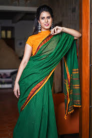 Narayanpet Designer Sarees Emerald Green Checked Narayanpet Handloom Cotton Saree With