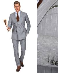 Light Grey Pinstripe Suit Combinations Premium Light Grey Chalkstripe 150s Suit Suits Fashion
