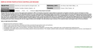 Spare Parts Stock Controller Cover Letter Resume