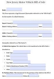 free new jersey motor vehicle car auto bill of form pdf