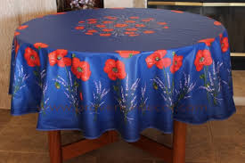 poppy lavender blue cotton coated french provence tablecloth french oilcloth indoor outdoor round circle table cloths rectangle rectangular tablecloths