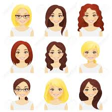別の髪型と色の分離を持つかわいい女の子のセットのイラスト素材ベクタ