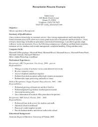 Receptionist Resume Objective Cool Sample Medical Receptionist Resume Objective On Resume For
